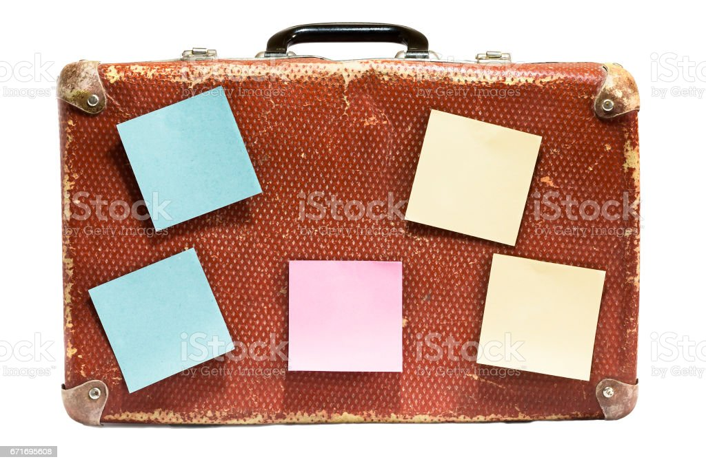 Old vintage suitcase on a white background. stock photo