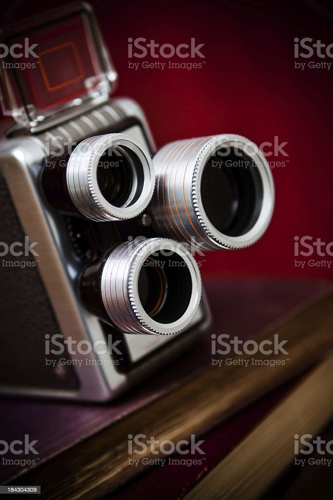 Old vintage three lens movie camera royalty-free stock photo