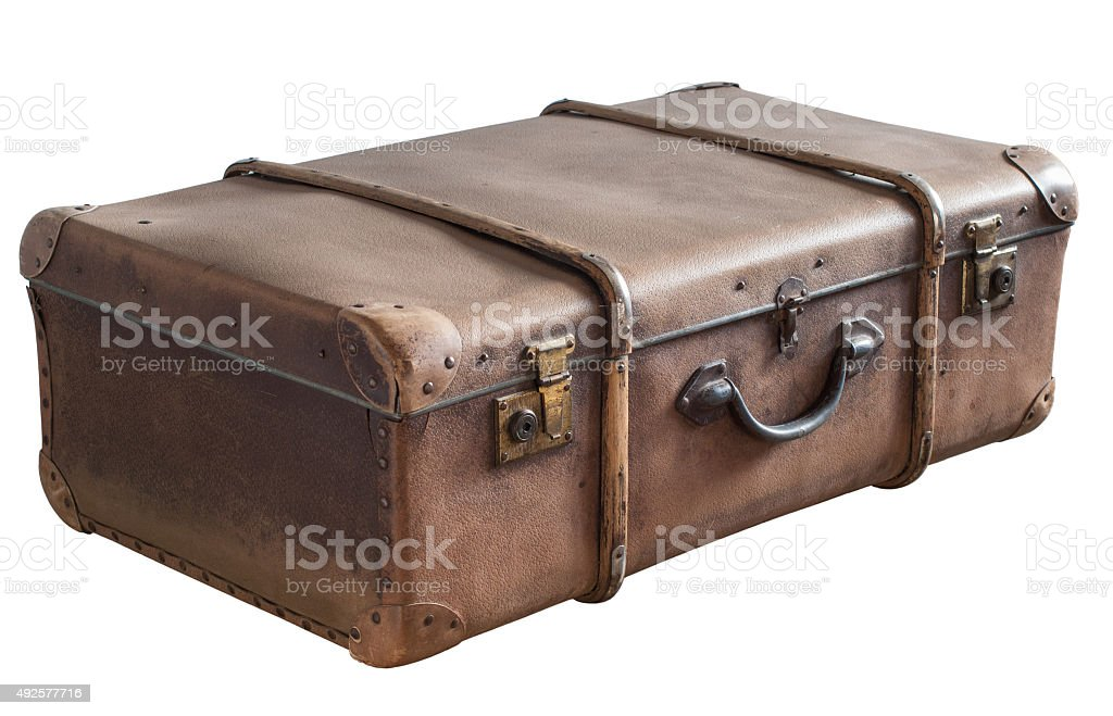 Old Vintage Trunk isolated on White stock photo