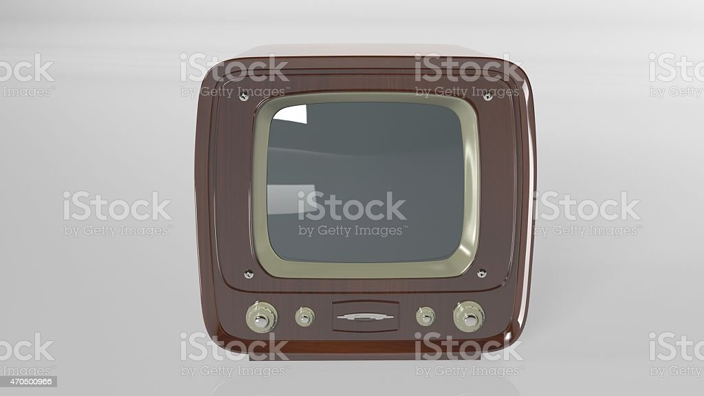 Old Vintage Tv On White Background Front View stock photo ...