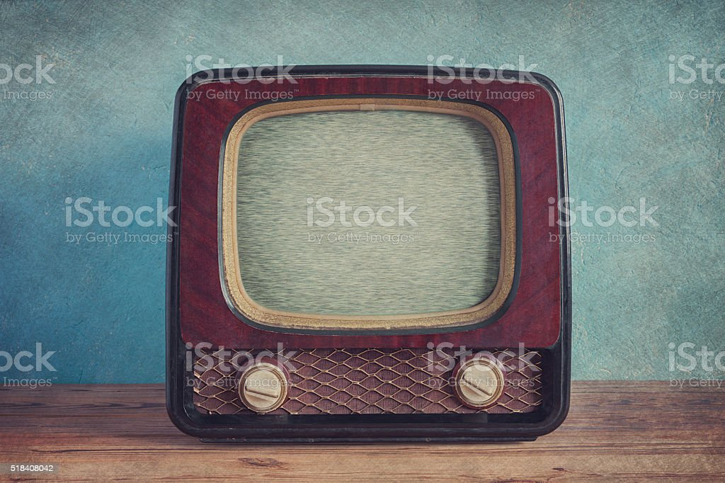 Old vintage TV with wooden case stock photo