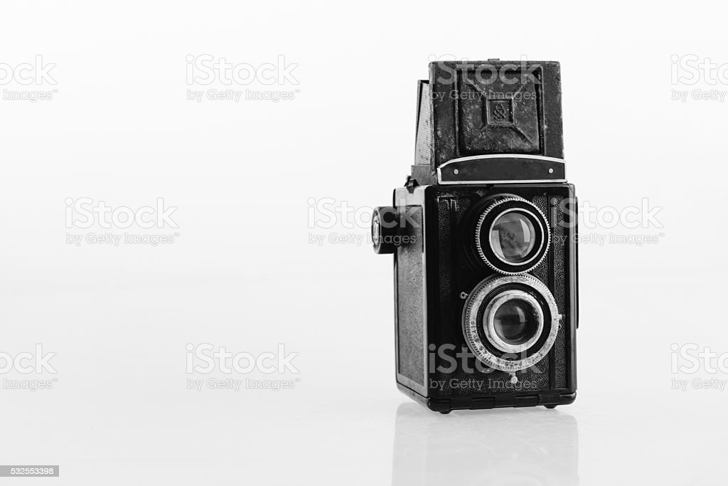 Old Vintage twin-lens reflex classic camera from Russia stock photo