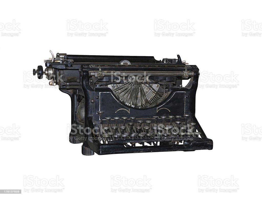 vintage de máquina de escrever velha isolado sobre branco foto de stock royalty-free