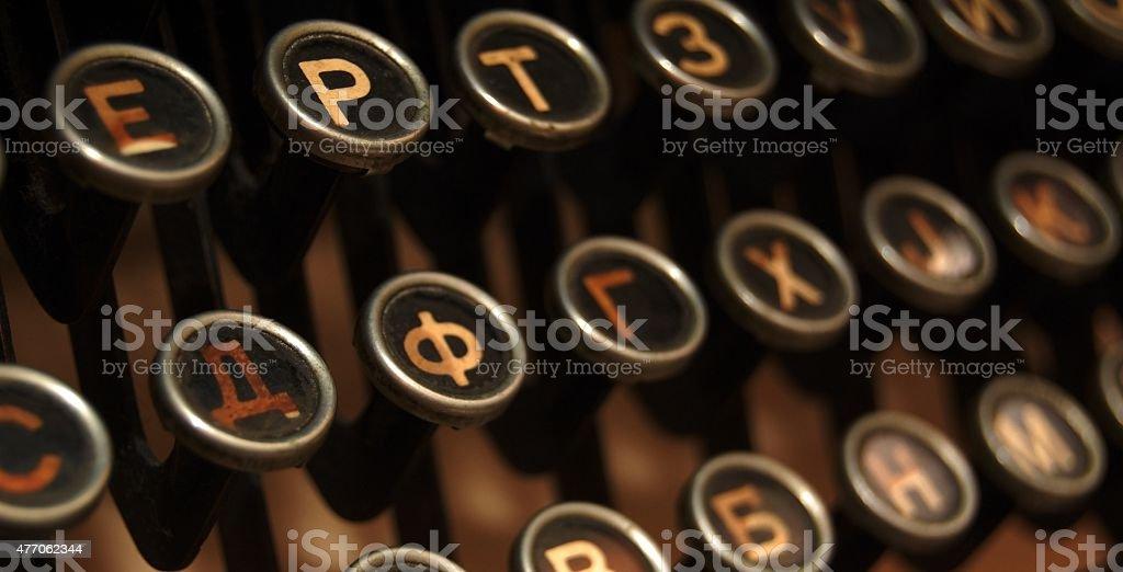 Old vintage typewriter keys stock photo