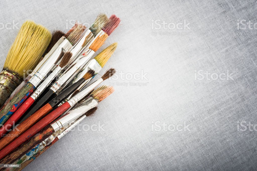 Old Vintage Used Artist Brushes stock photo