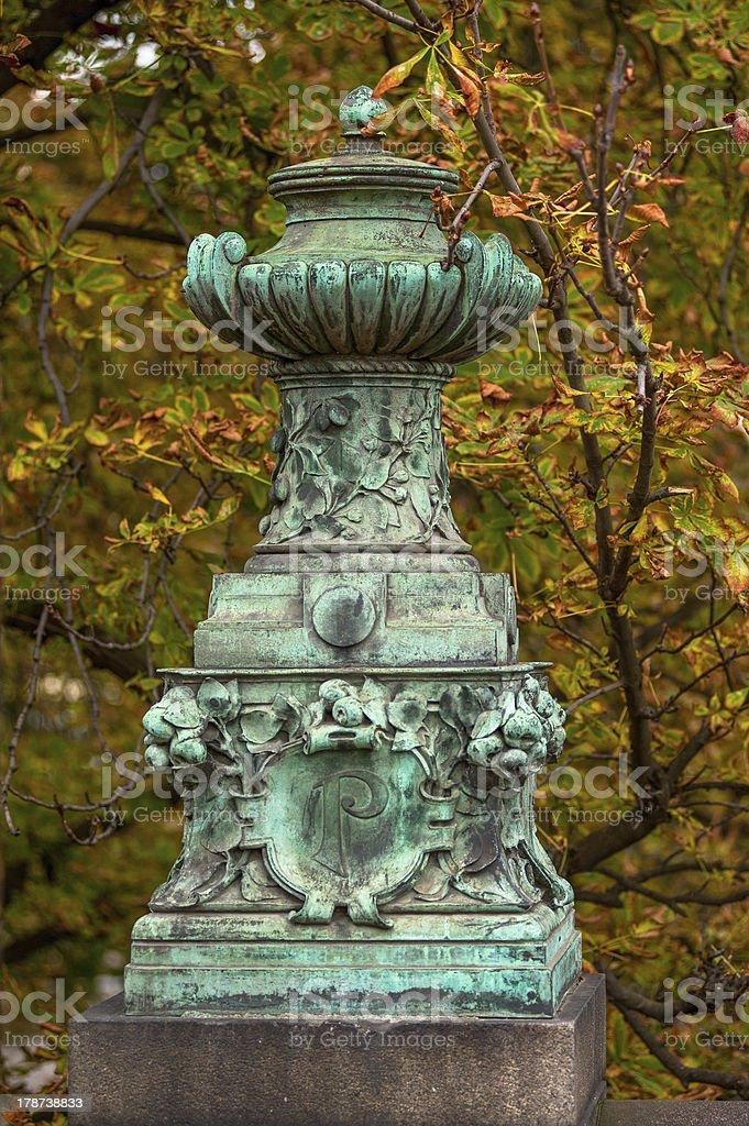 Old vintage vase in prague park royalty-free stock photo