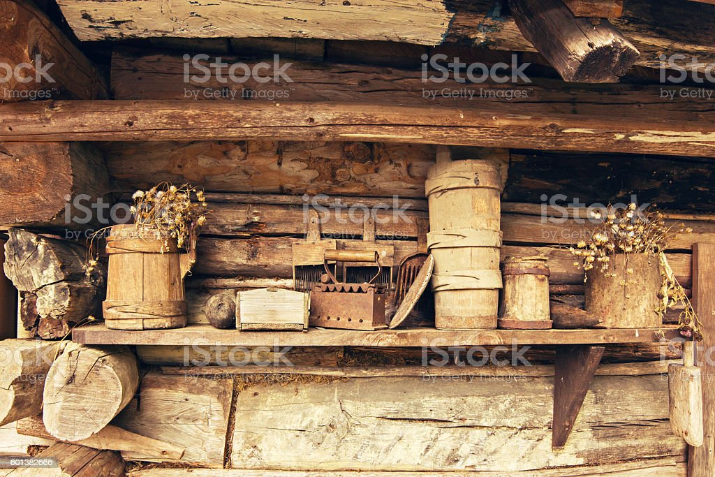 Old vintage village with household items stock photo