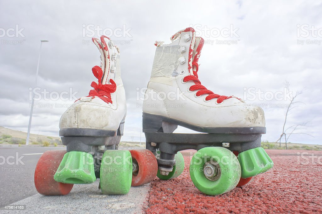 Old Vintage White Skate Boot royalty-free stock photo