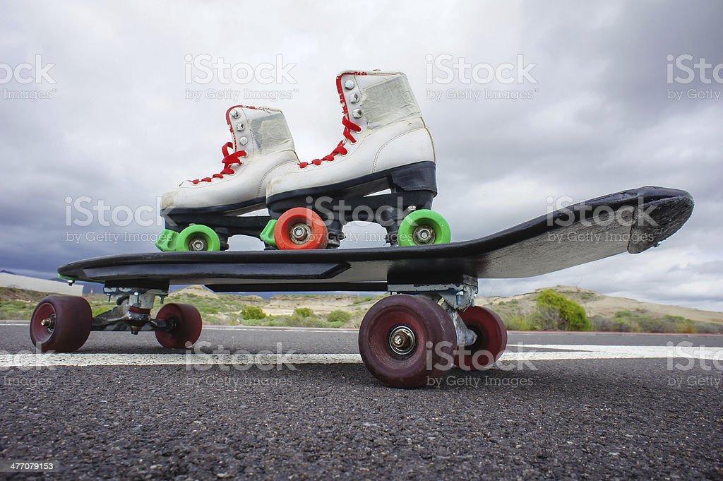 Old Vintage White Skate Boot royalty-free stock photo
