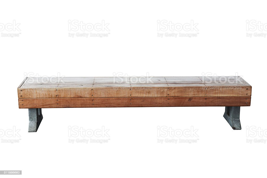old vintage wood bench against white background stock photo