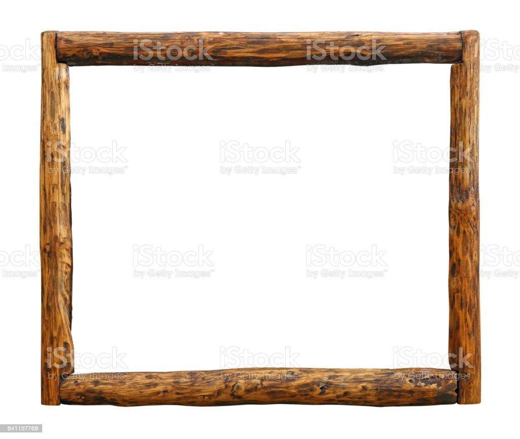 Old vintage wooden brown rustic log border frame, isolated on white stock photo