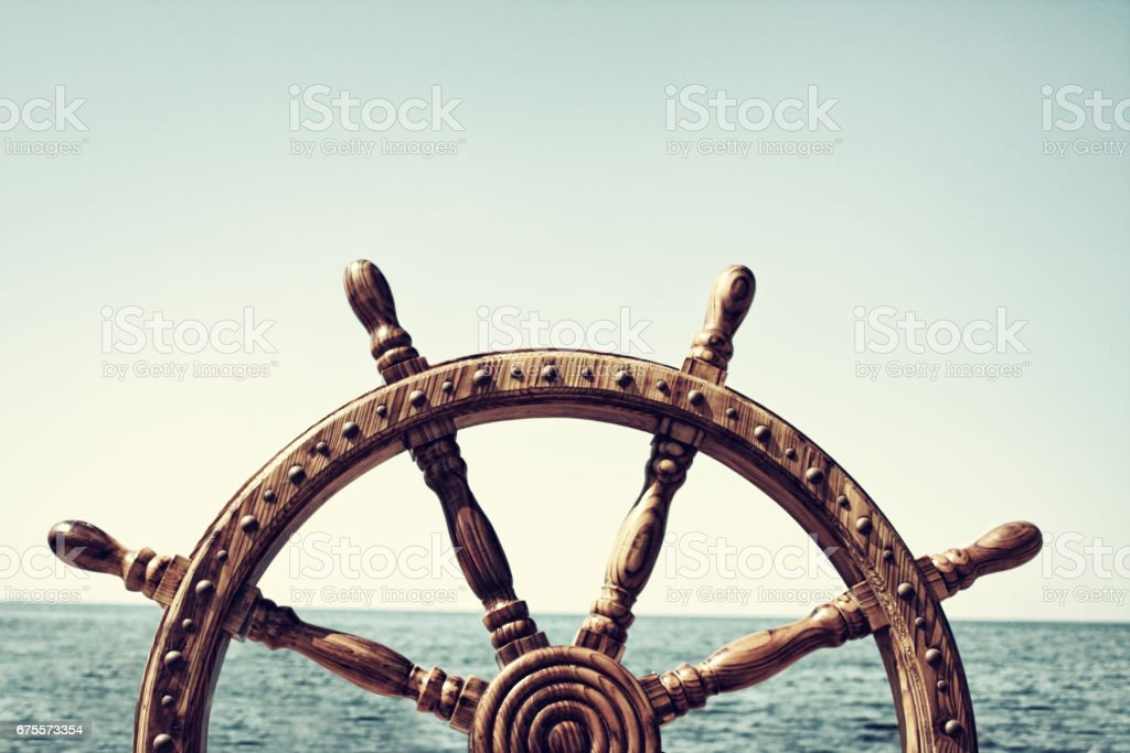 Old Vintage Wooden Helm Wheel stock photo