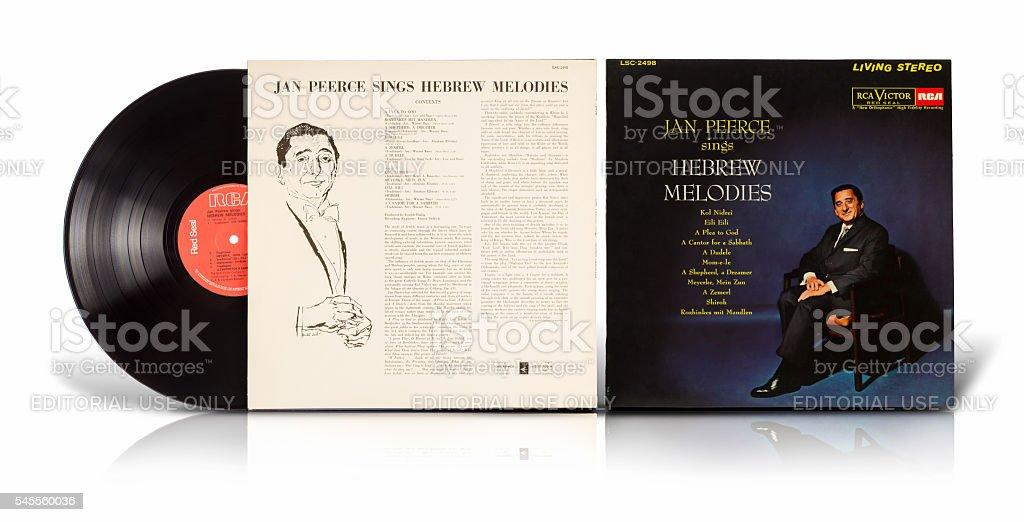 Old vinyl album of Jan Peerce stock photo