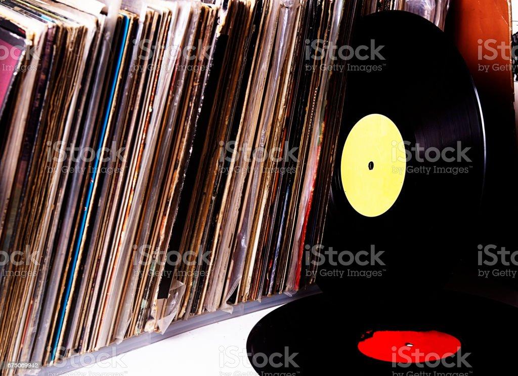 Old vinyl record collecton stock photo