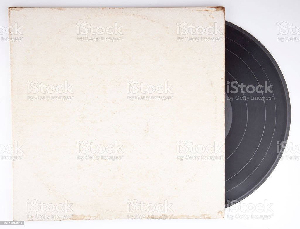 Old vinyl record in a paper case stock photo