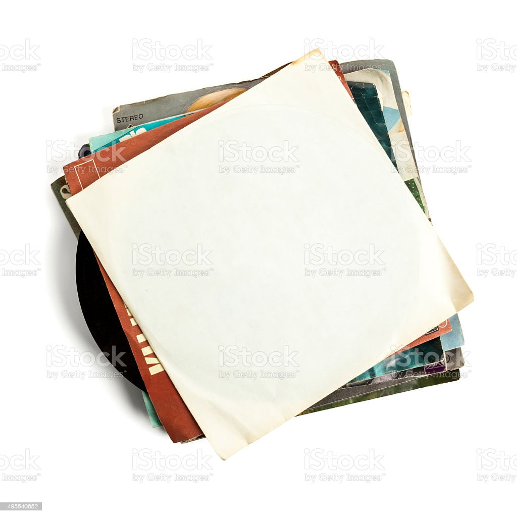 Old vinyl records, blank cover stock photo