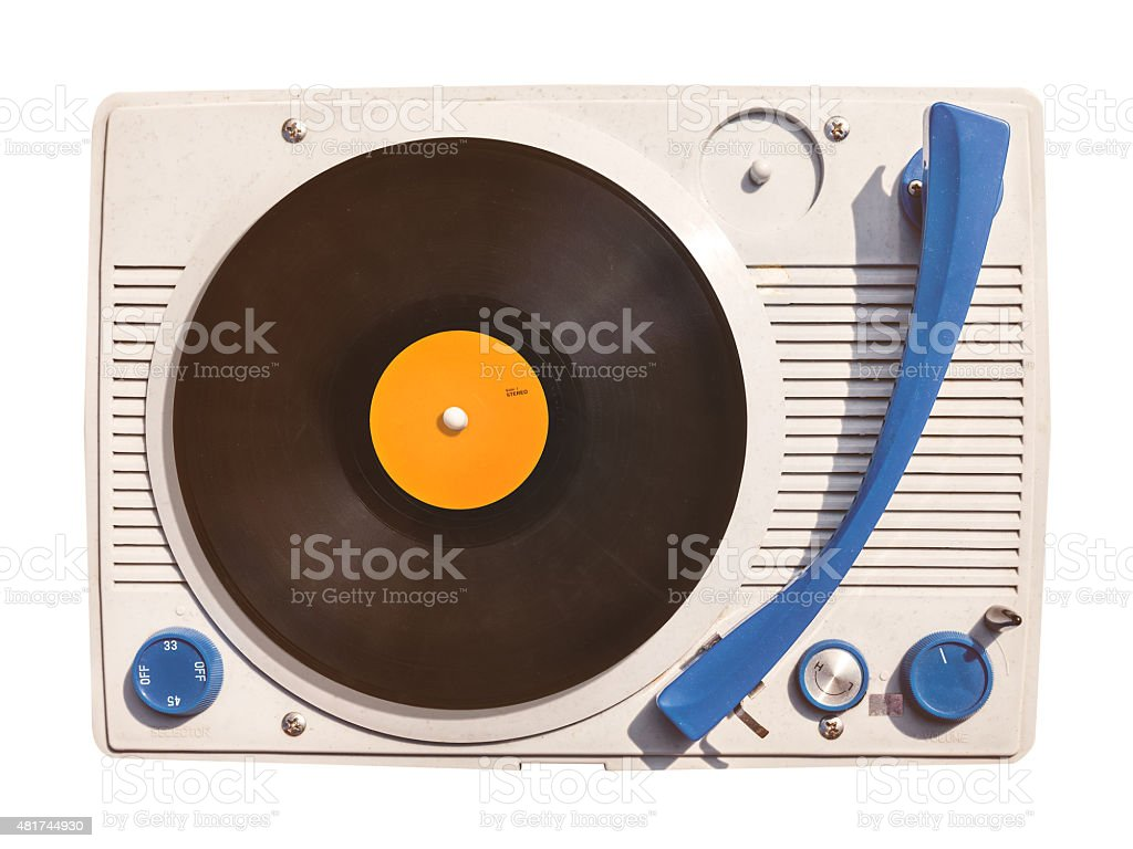 Old vinyl turntable player with record isolated on white stock photo