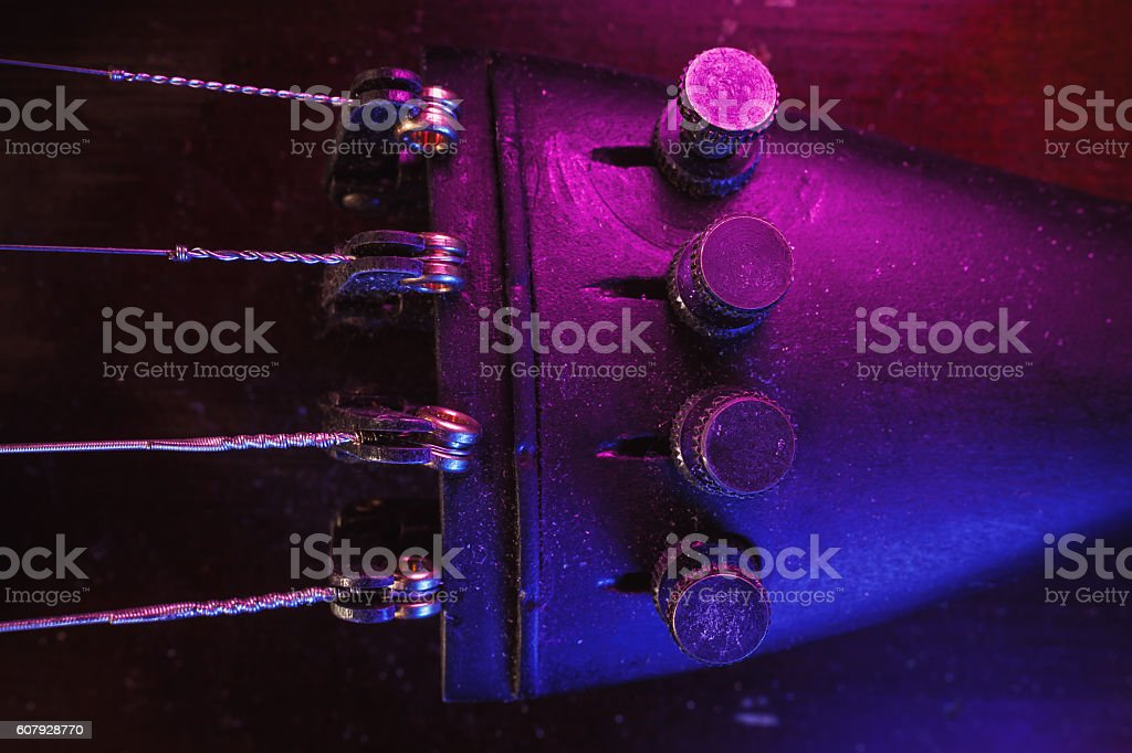 Old Violin Fine Tuners and Strings stock photo