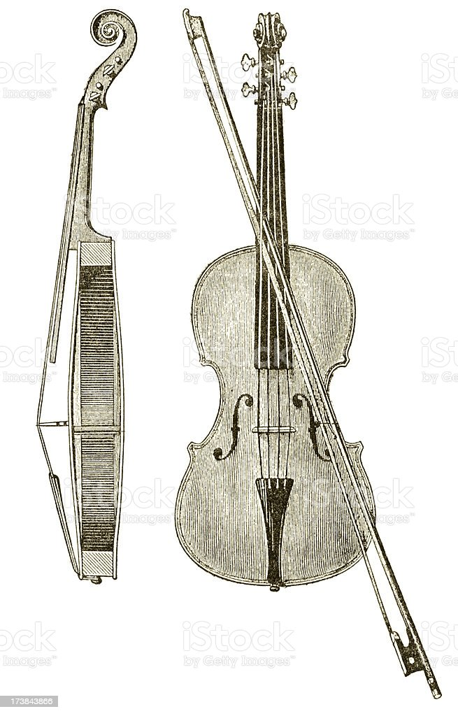 Old violin illustration stock photo