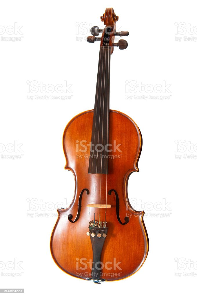 Old violin on white background stock photo