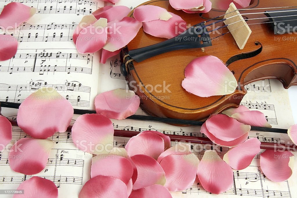 Old violin with notes royalty-free stock photo