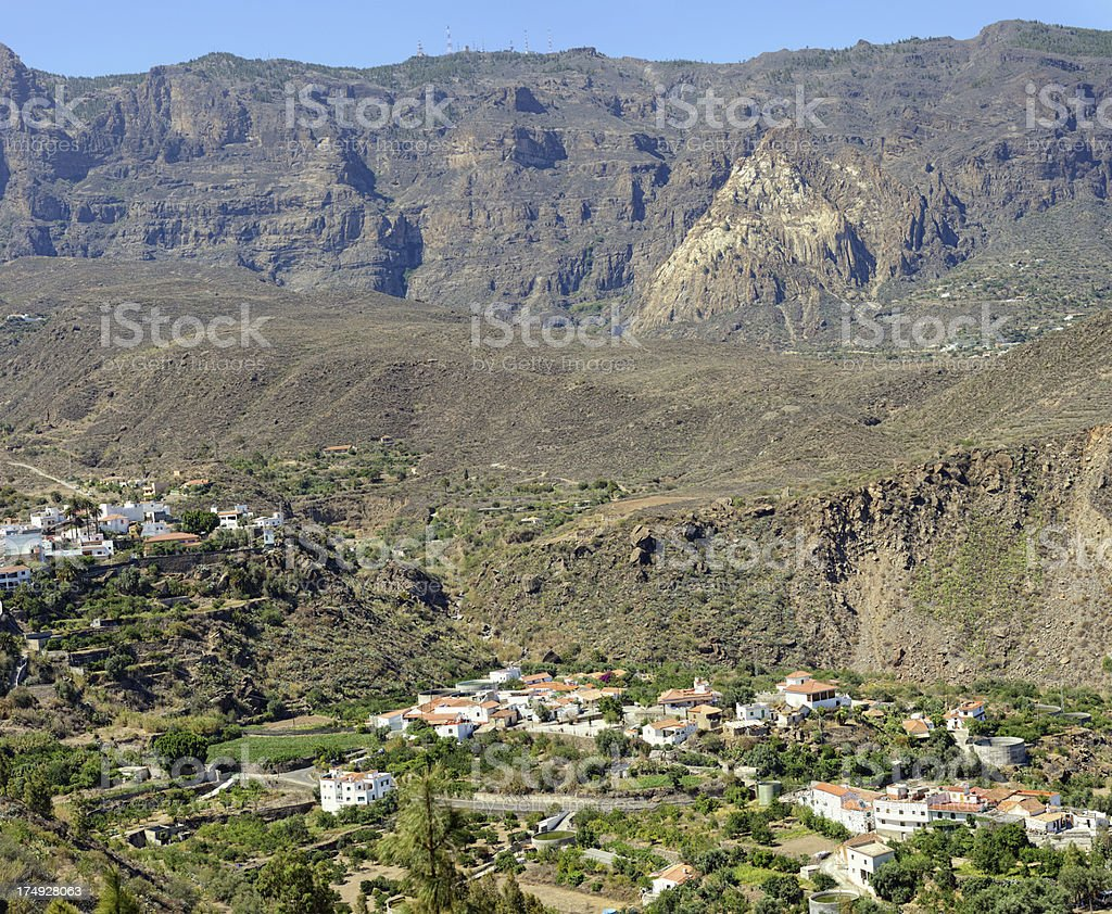 Old volcano Caldera at San Bartolome de Tirajana stock photo