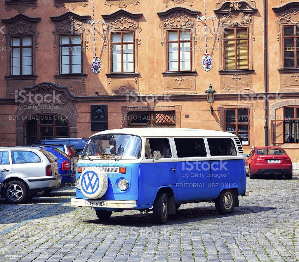 Old Volkswagen Van In Prague stock photo