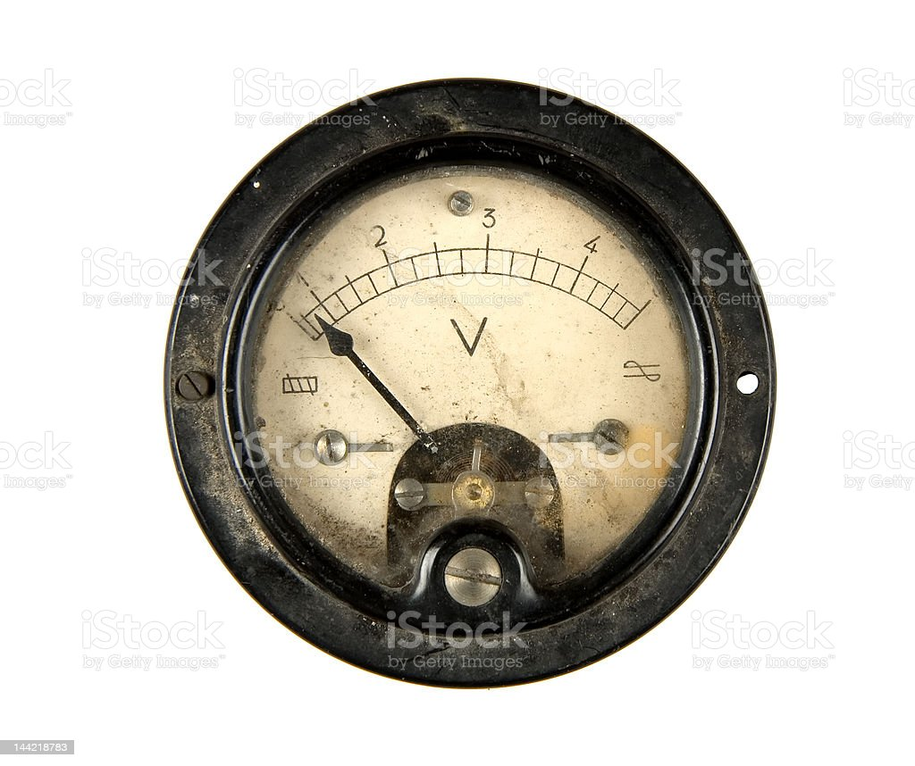 Old voltmeter stock photo