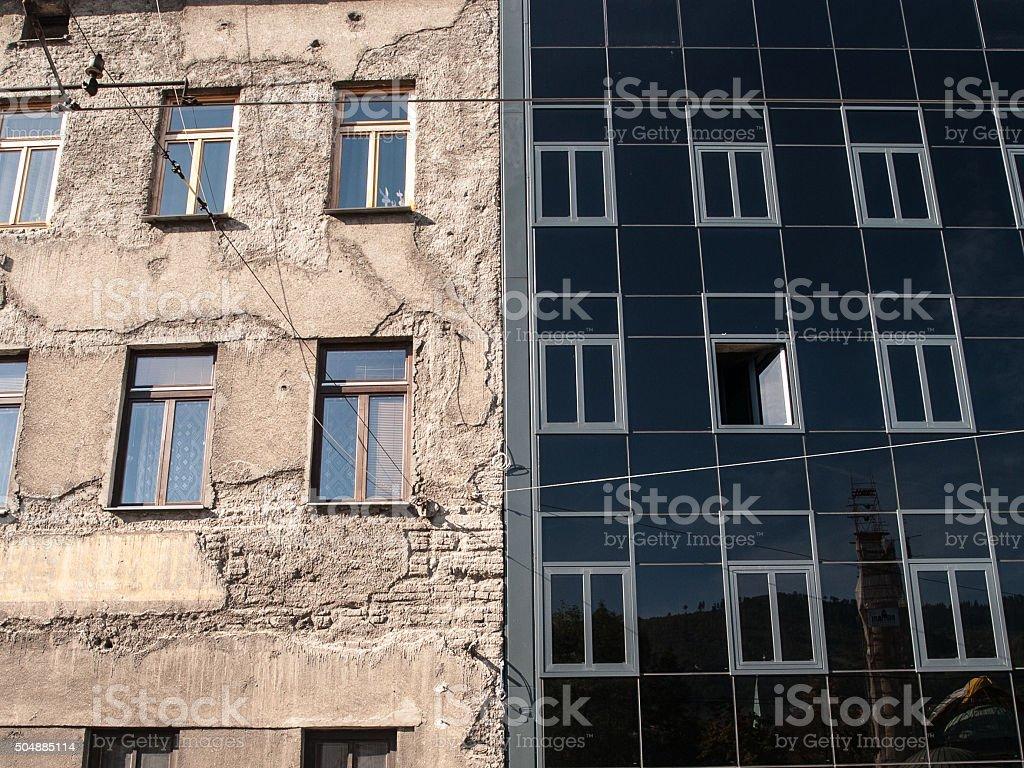 Old vs New Architecture stock photo