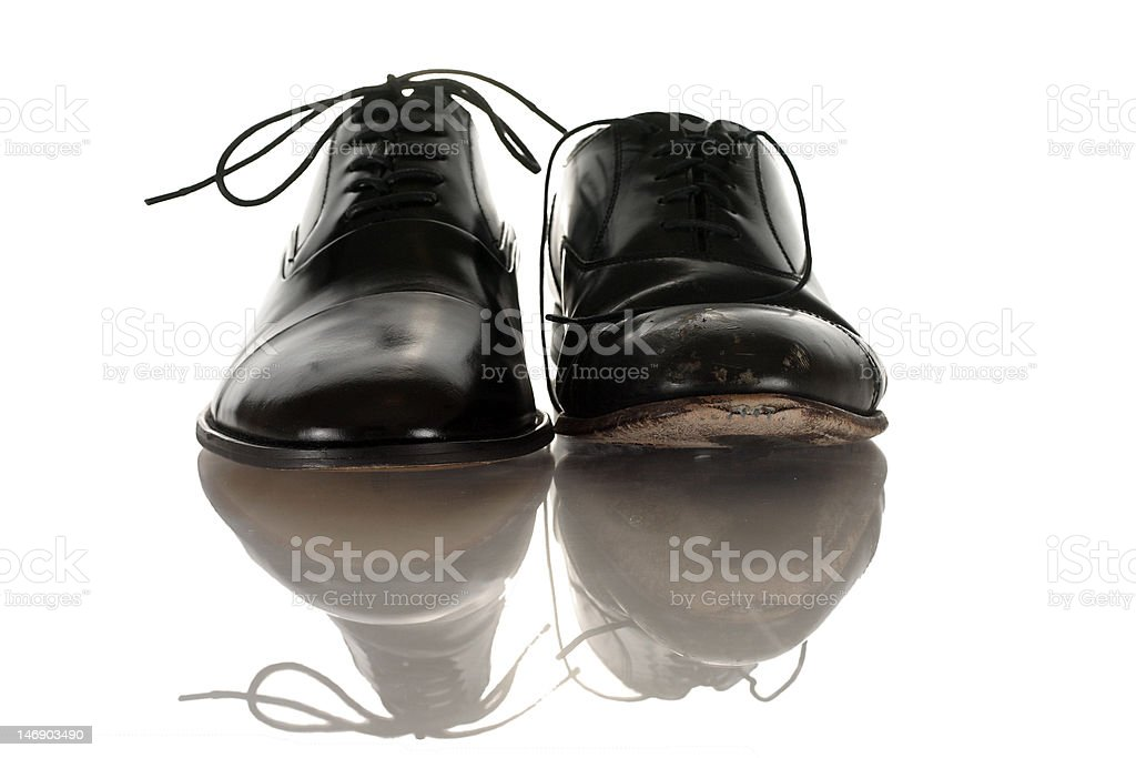 Old vs. New Dress Shoes stock photo