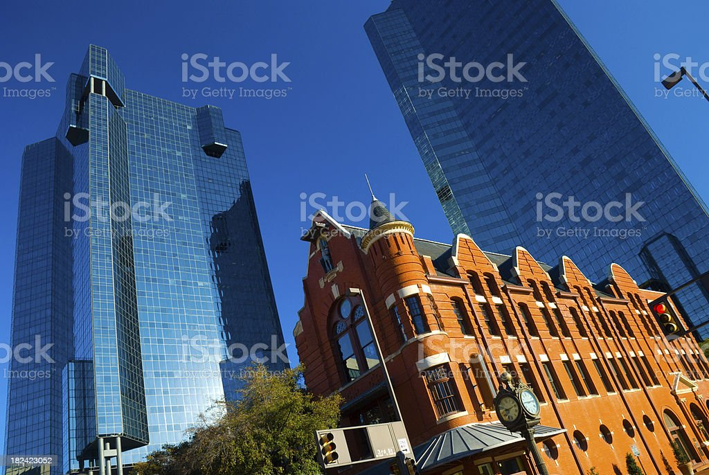 Old vs New: Fort Worth glass buildings and historic building stock photo