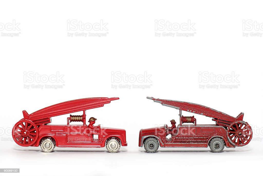 Old vs. new: toy car Fire Engine royalty-free stock photo