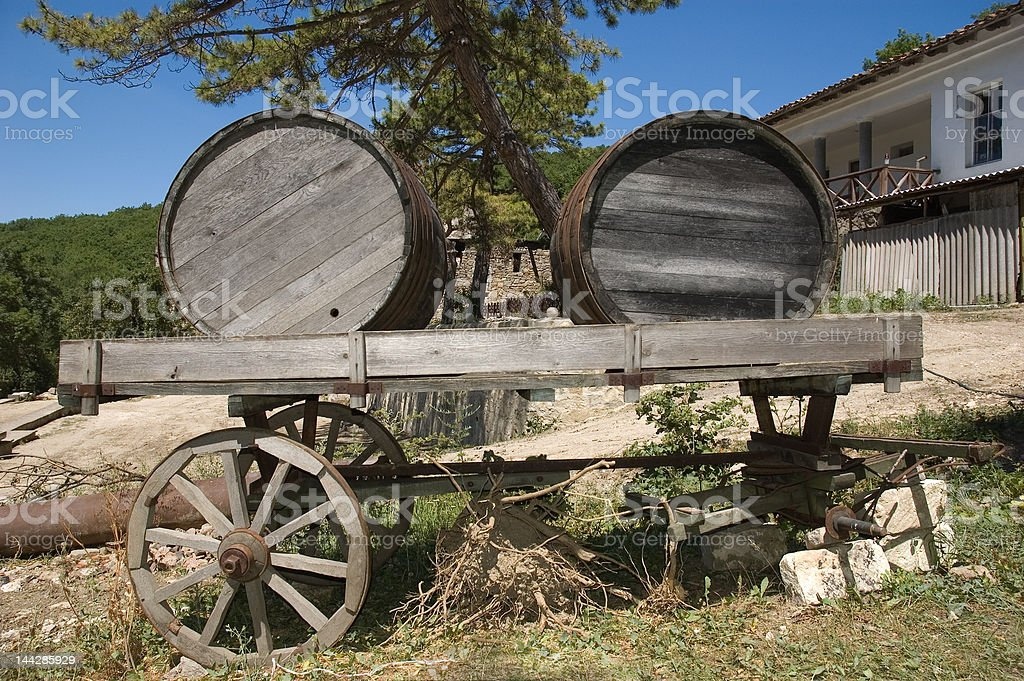 Old waggon with barrels royalty-free stock photo