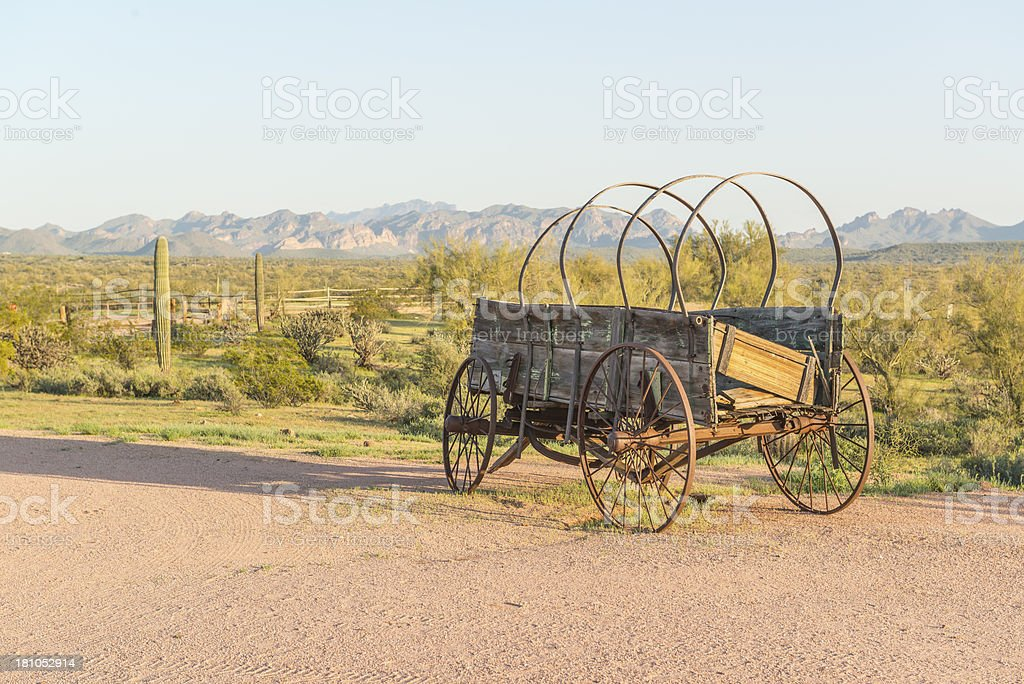 Old wagon out in the desert southwest royalty-free stock photo