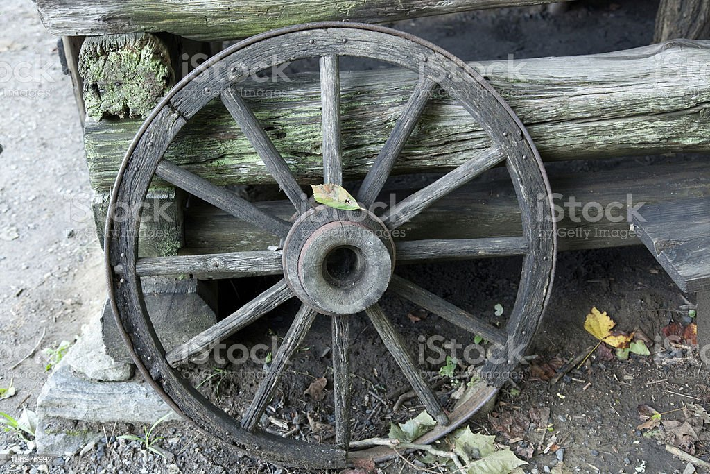 Old Wagon Wheel against log wall royalty-free stock photo