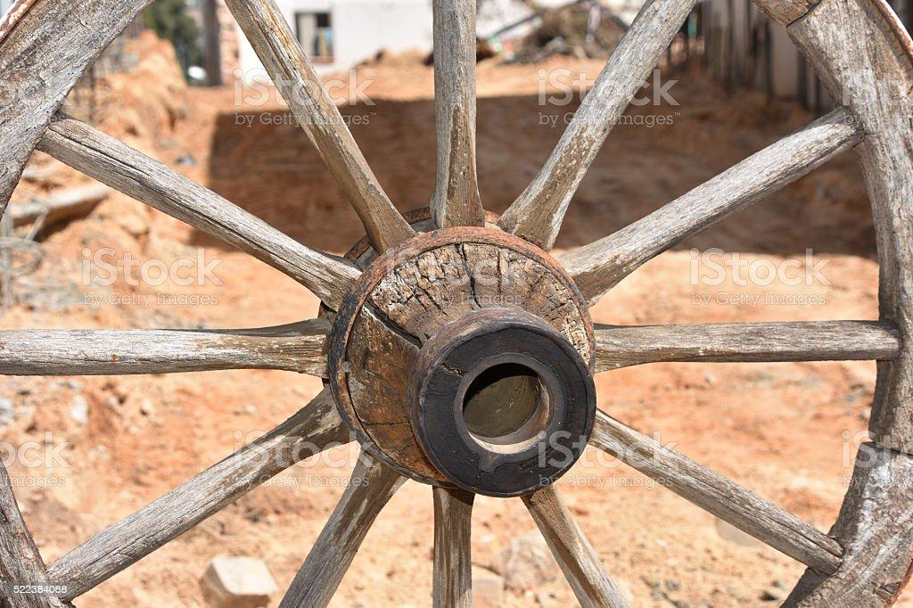 Old wagon wheel stock photo