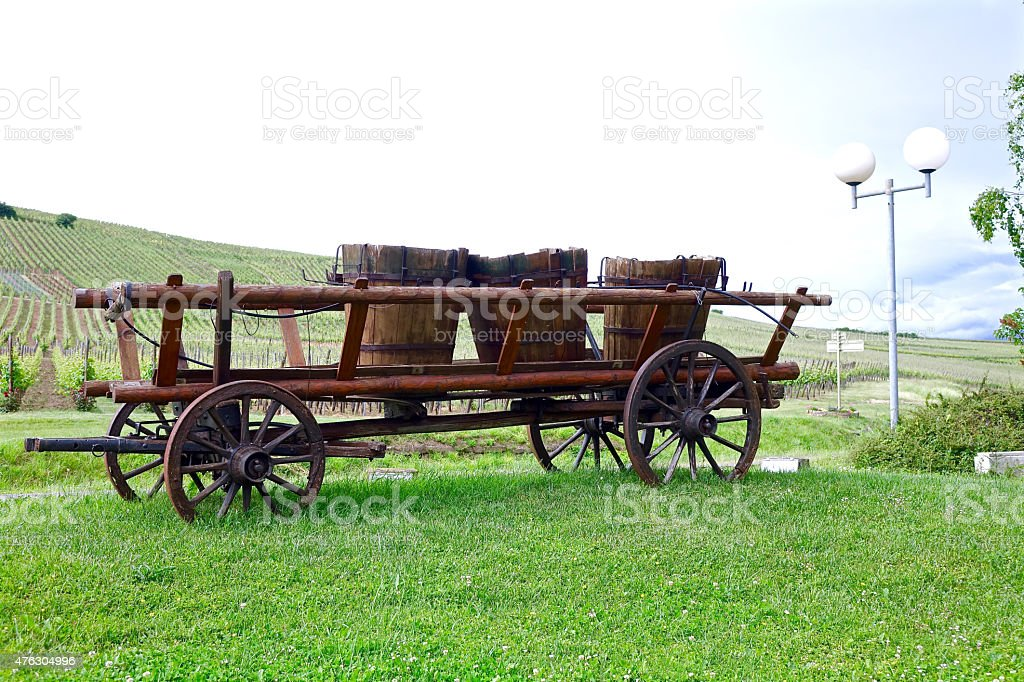 Old wagon with wine barrel stock photo