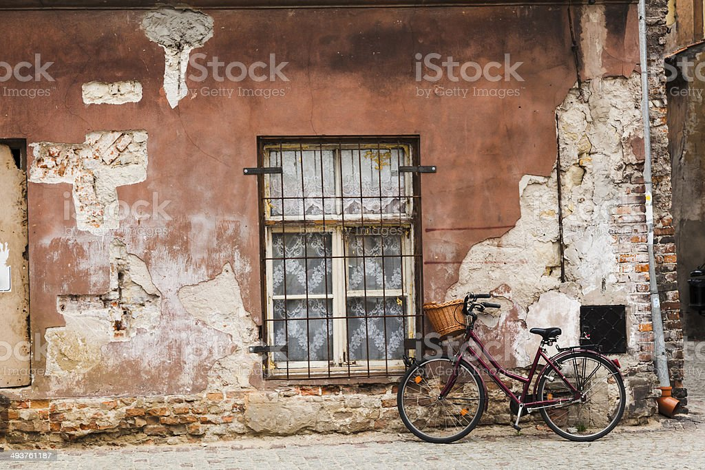 Old wall and bicycle stock photo