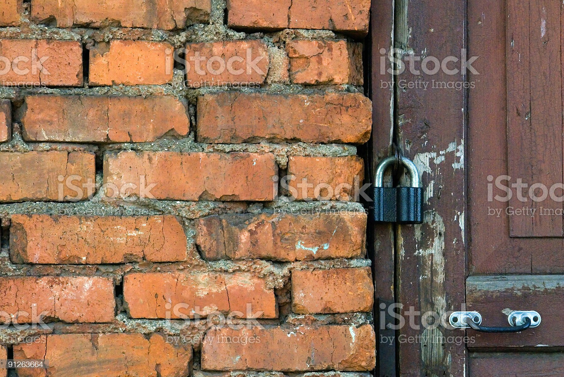 Old wall and door with the lock royalty-free stock photo