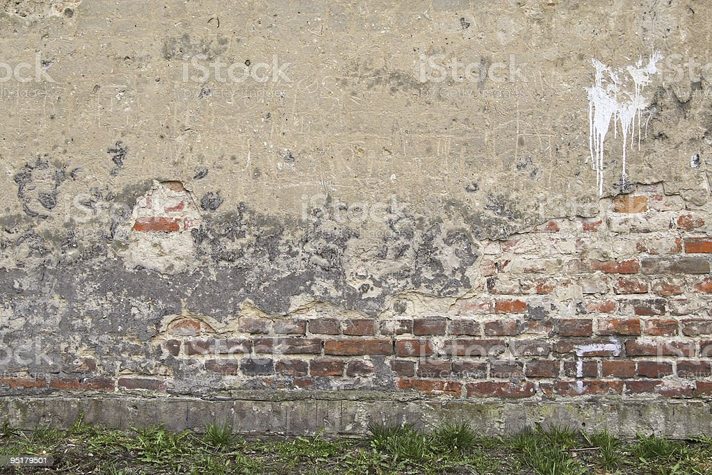 Old wall and grass royalty-free stock photo