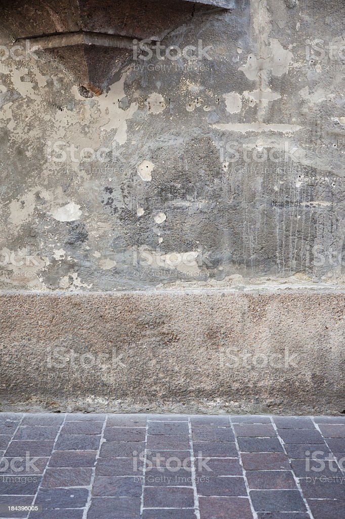 Old wall and street as compositing background royalty-free stock photo
