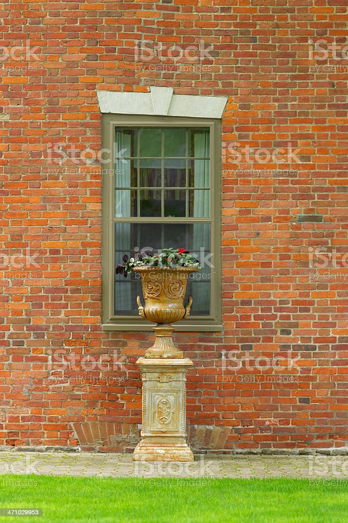 Old Wall and Urn stock photo