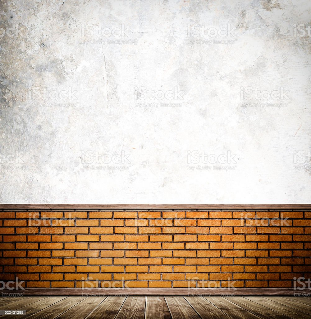 Old wall and wooden floor background. stock photo