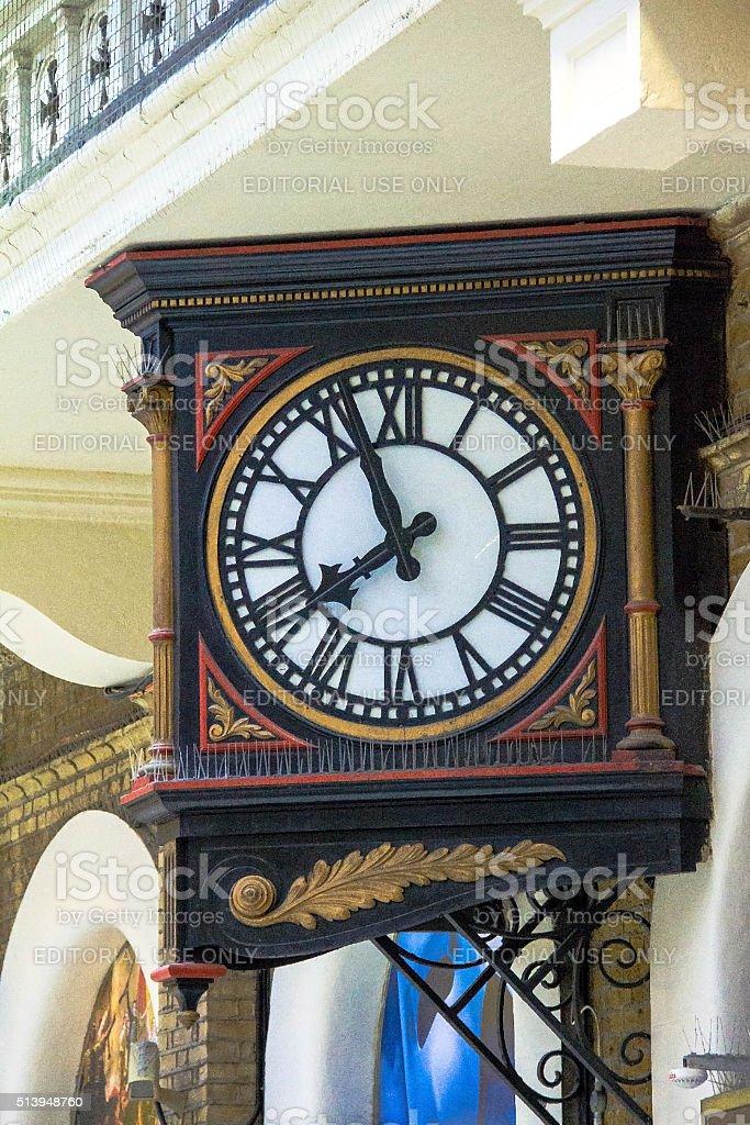 Old wall clock at Charing Cross railway station stock photo