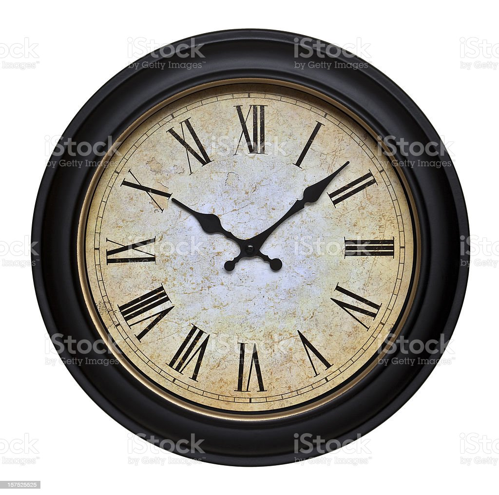 Old Wall Clock With Roman Numerals stock photo