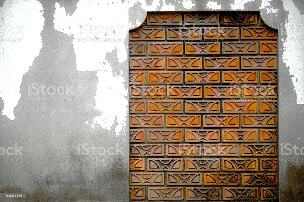 Old wall.  Concrete walls with brick block. royalty-free stock photo