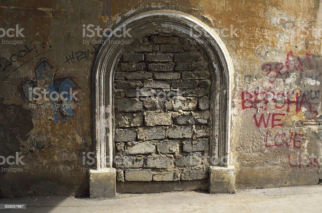 Old wall entrance stock photo
