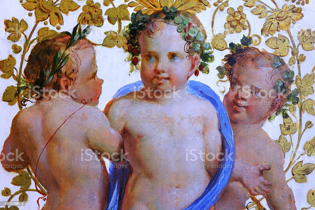 Old wall fresco painting stock photo
