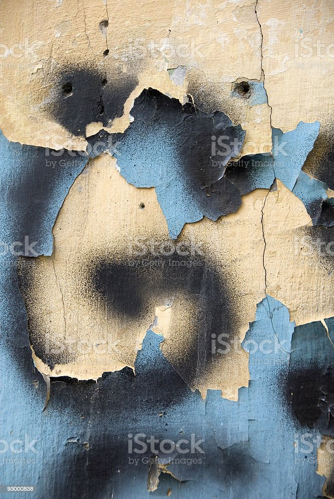 Old wall in abandoned building with peeling graffiti, Istanbul, Taksim royalty-free stock photo