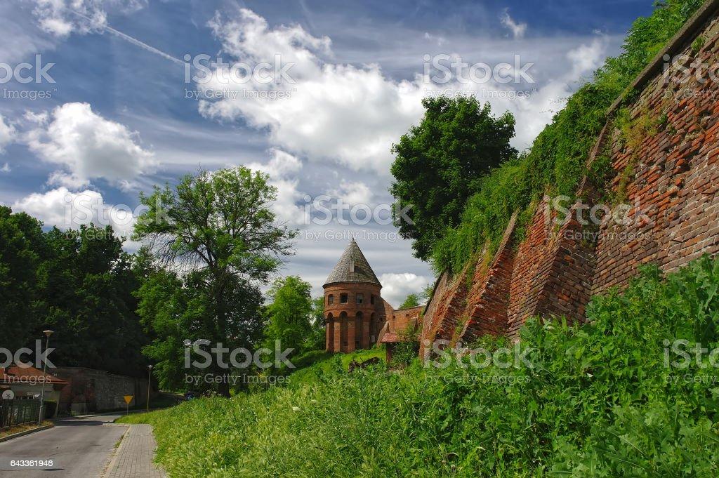 Old wall of Benedictine abbey in Jaroslaw. Poland stock photo